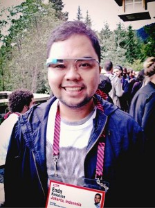 Enda Nasution with Google Glass at TED Fellows Retreat 2013